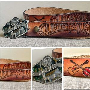 COUNTRY MUSIC BELT WITH MAINE BELT BUCKLE